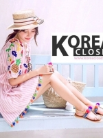 ชุดเดรส ZR : Striped Dress With Embroidered And Tassels