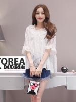 เสื้อแฟชั่นเกาหลี Korean Style Embroidered Lace Top