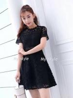 ชุดเดรสMyStyle Lace Dress สีดำ