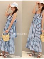 แม็กซี่เดรส Bow Back Stripe Maxi Dress สีฟ้า