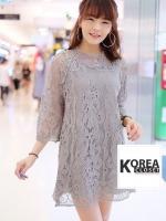 ชุดเดรสแฟชั่น Gracy Lace Dress by ChiCha's สีเทา