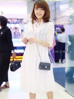 ชุดเดรส Vivi White Embroidery Maxi Dress