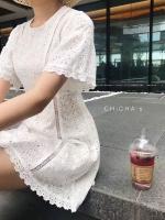 มินิเดรส Mini Mo Embroidered Dress สีขาว