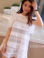 มินิเดรส Miranda Ruffle Lace Minidress สีขาว