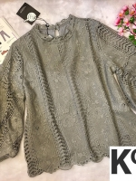 เสื้อแฟชั่น Balloon-Sleeve Embroidered top สีเทา