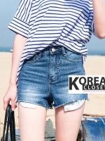 กางเกงยีนส์แฟชั่นขาสั้น Fold Short Washed Jeans