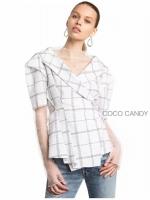 เสื้อสูท Korea Collar Checked Top สีขาว
