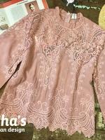 เสื้อลูกไม้แฟชั่น สีชมพู
