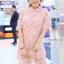 เดรสลูกไม้ 3D Floral Lace Dress สีชมพู thumbnail 3