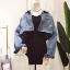Set 2pcs : Denim Crop Jacket wt Spaghetti Knit Dress thumbnail 4
