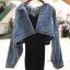Set 2pcs : Denim Crop Jacket wt Spaghetti Knit Dress thumbnail 7