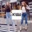 กางเกงยีนส์แฟชั่น Frey-Hem Boot-Cut Jeans สีเข้ม thumbnail 2