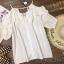 เสื้อแฟชั่น Frill-Trim Lace Cut-Out Cotton Blouse thumbnail 3