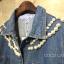 เสื้อแจ็คเก็ตยีนส์ Embroidery Pearl Neck Denim Jacket thumbnail 7