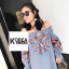 ชุดเดรสแฟชั่น Off-Shoulder Florally Embroidered Dress thumbnail 1