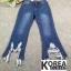 กางเกงยีนส์แฟชั่น Frey-Hem Boot-Cut Jeans สีเข้ม thumbnail 7