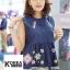 เสื้อแฟชั่น Floral Embroidery Sleeveless Blouse - สีกรม thumbnail 1