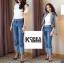 กางเกงยีนส์แฟชั่นปลายขาพับ สไตล์เกาหลี STYLERICH BY KOREA thumbnail 3