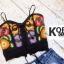 เสื้อแฟชั่น Fiona Embroidery Spaghetti Strap Crop สีดำ thumbnail 5