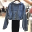 Set 2pcs : Denim Crop Jacket wt Spaghetti Knit Dress thumbnail 8