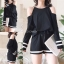ชุดเซ็ทแฟชั่น Set : Korea Cut-Out Shoulder Two-Tone wt Shorts thumbnail 2