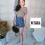 กางเกงขาสั้น งานเกาหลี สีฟ้าคราม thumbnail 5