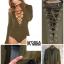 Bitchy Tie Front Bodysuit สีเขียวทหาร thumbnail 2