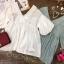 เสื้อแฟชั่นV-Neck Balloon-Sleeve Cotton Blouse thumbnail 15