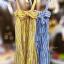 แม็กซี่เดรส Bow Back Stripe Maxi Dress สีเหลือง thumbnail 15