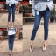 กางเกงยีนส์ Cut Out Slim Fit Dark Denim thumbnail 3