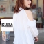 Very Pleaty Cut-Shoulder Blouse by ChiCha's thumbnail 6