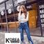 กางเกงยีนส์แฟชั่น Frey-Hem Boot-Cut Jeans สีเข้ม thumbnail 4