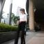 กางเกงผ่าข้าง Korea Slit-hem Pants สีดำ thumbnail 3
