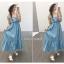 แม็กซี่เดรส Bow Back Stripe Maxi Dress สีเหลือง thumbnail 14