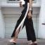 กางเกง Korea Botton Two-Tone Wide Leg Pants thumbnail 3