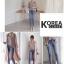 กางเกงยีนส์แฟชั่น HighWaist Washed Skinny Denim Jeans thumbnail 3